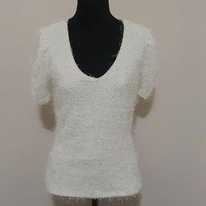 Va Va Voom Jeans Ivory  Fuzzy Rouged Sleeve Top L